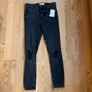 NWT Free People Black Distressed Skinny Jeans